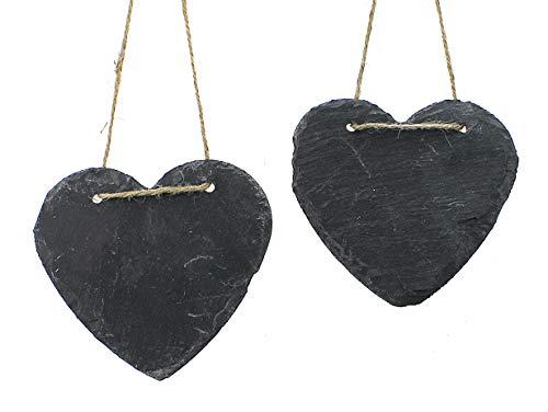 TEMPELWELT 2X Deko Anhänger Dekohänger Herzen je 12x11 cm, Schiefer Schieferplatten Grau Zum Hängen Herzanhänger Dekoherz Tafel