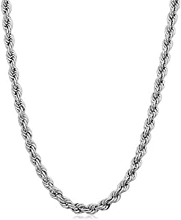 Verona Jewelers 925 Sterling Silver Diamond-Cut Rope Chain Necklace 2MM, 3MM, 4MM - 925 Braided Twist Italian Necklace, 925 Gold Rope Chain, 14K Gold Over Silver Rope Chain Necklace
