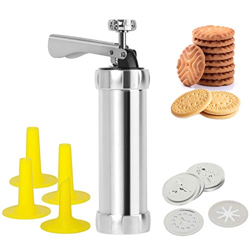 Cookie Press Gun Kit for DIY Biscuit Maker and Decoration with 20 Stainless Steel Cookie Discs and 4 Nozzles