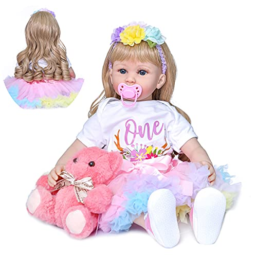 ROSHUAN Reborn Baby Girl Dolls 24 inch Blonde Hair Toddler Reborn Dolls That Look Real Babies with Teddy Toy Accessories Xmas Birthday Gift Set for Girls
