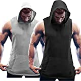 COOFANDY Men's 2 Pack Workout Hooded Tank Tops Bodybuilding Muscle Cut Off T Shirt Sleeveless Gym Hoodies (Large, 01-Black&Light Grey22)