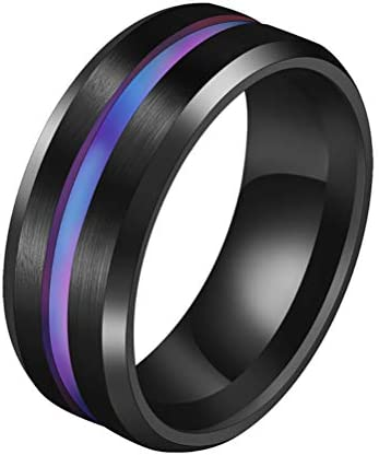 JULAN Stainless Steel Brushed Groove Ring Weight Loss Ring Magnetic Therapy Healthcare Finger product image