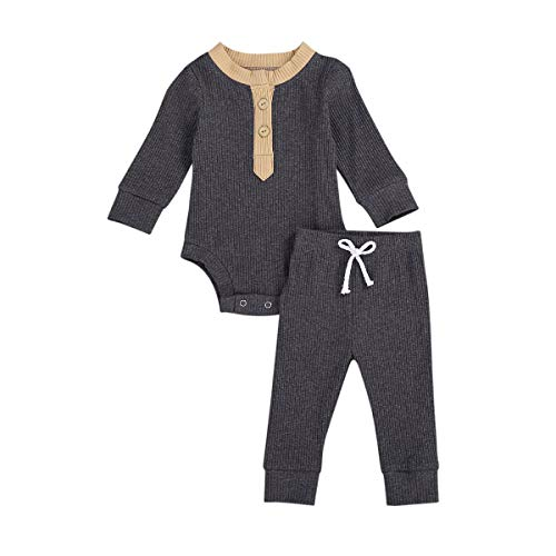 Infant Newborn Baby Boy Girls Clothes Long Sleeve Button Romper Tops + Solid Pants Set 2Pcs Outfits(Dark Gray,6-12M)