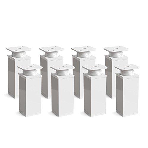 Design-Möbelfüße Doppelpack, 2 x 4er Set (8 Stück), höhenverstellbar | Vierkant-Profil: 40 x 40 mm | Sossai® MFV1-WH | Farbe: Weiß | Höhe: 60mm (+20mm) | Material: Aluminium | Holzschrauben inklusive