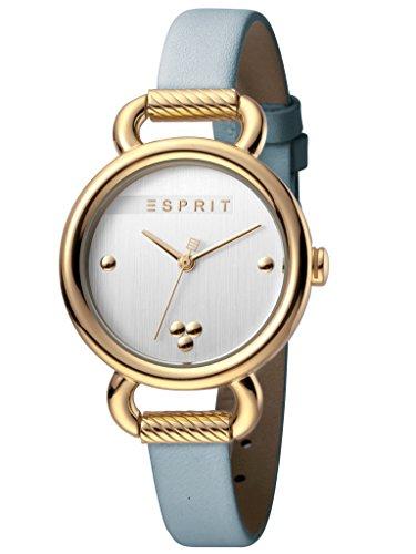 Esprit ES1L023L0025 Play Silver L.Blue SET horloge dameshorloge leren armband verguld 5 bar analoog blauw