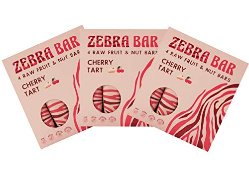 Zebra Bar Cherry Tart Frucht-Nuss-Riegel | ohne künstlichen Zucker |Roh | Vegan |Gluten- und Laktosefrei | Sport Ernährung | Gesunde Ernährung | Superfood |3 x Value Pack 12 x 35 Gramm ZONAMA FOOD