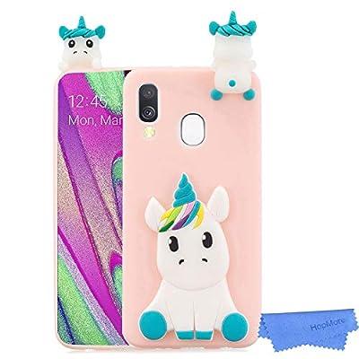 HopMore Unicornio Panda Funda para Samsung Galaxy A40 2019 Silicona Dibujo 3D Carcasa Divertidas Kawaii Case Ultrafina Antigolpes Caso Protección Cover Gracioso para Chicas Mujeres - Unicornio Rosa