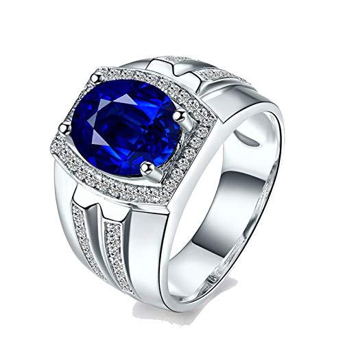 Bishilin Anillo de Oro Blanco 750 Reales Clásico Bandas de Boda Azul Zafiro Diamante Anillo de La Cena Bandas de Boda Ajuste Cómodo Forma Ovalada Joyas de Aniversario Muy Pulidas Azul