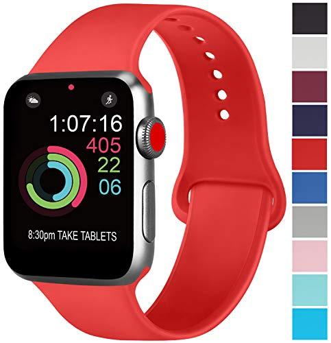 AK Cinturino Compatibile per Apple Watch Cinturino 44mm 42mm 38mm 40mm, Cinturino Sport in Silicone Cinturino Uomo e Donna per iWatch Serie 5 4 3 2 1 (42/44mm S/M, 07 Orange Red)