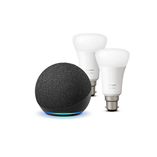 Photo of All-new Echo Dot (4th generation), Charcoal + Philips Hue White Smart Bulb Twin Pack LED (B22) | Bluetooth & ZigBee compatible (no hub required)