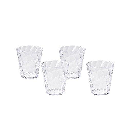Omada Design Set 4 Bicchieri Colorati Acqua da 30 cl, in Plastica Infrangibile, resistenti e lavabili in lavastoviglie, Made in Italy, linea Diamond, Colore Trasparente, Impilabili
