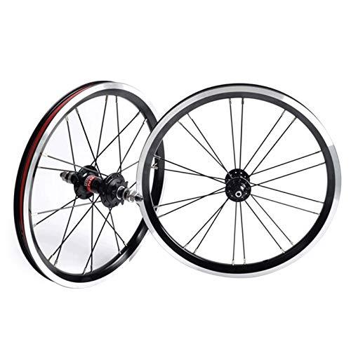 MZPWJD BMX 406 Llantas Juego Ruedas Bicicleta 20 Pulgadas Freno Llanta Rueda Delantera Y Trasera Bicicleta Plegable con Piñón 9 Dientes Cubo Cojinete Sellado 1210g (Color : Black, Size : 20')