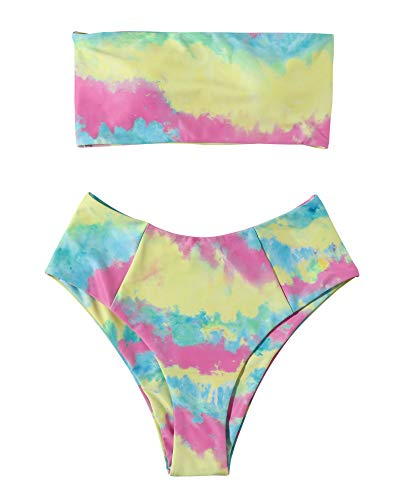 OMKAGI Women's Solid Strapless Two Piece Bikini Set High Cut Bandeau Swimsuits(XL,Yellow TD)