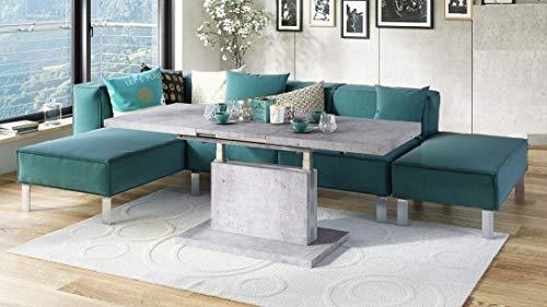 Design Couchtisch Tisch Aston Beton Betonoptik stufenlos höhenverstellbar ausziehbar 120 bis 200cm Esstisch