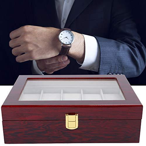Scatola porta orologi Scatola porta orologi in legno a 10 griglie Scatola porta orologi con finestra trasparente Scatola porta gioielli Scatola portaoggetti per orologi Grande praticità per