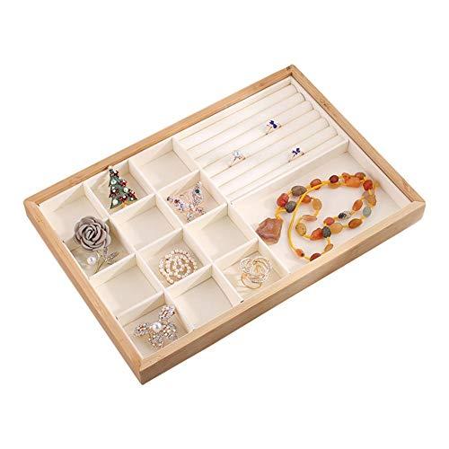runnerequipment Multifunción bambú anillo de madera pendiente bandeja escaparate exhibición pulsera collar joyería organizador apilable