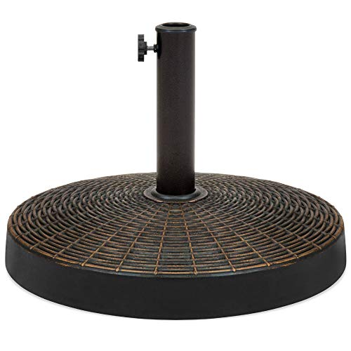 Best Choice Products Round 55lb Wicker Style Resin Patio Umbrella Base Stand w/ 1.75in Hole, Bronze Finish, Rust Resistant - Black