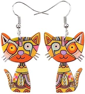 Drop Cat Earrings Acrylic Long Dangle Earring 2015 Fashion Jewelry For Women Girl New Style Cute Animal Accessories Size/Color : Green