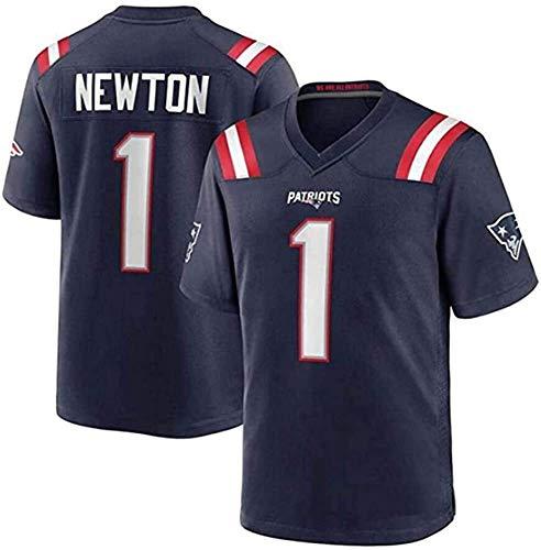 CAM Newton Jersey, Patriots # 1 Camisa de fútbol Americano, Versión de Bordados, Hombres, Mujeres, Versión para niños Versión T-Shirt 2021 Tribute Limited Jersey (Color : Blue, Size : XL)
