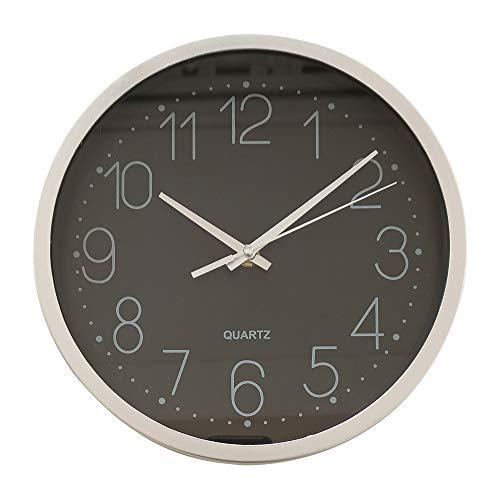 TETI`S Ducks Home - Reloj de Pared clásico, con números Grandes, diámetro Ø 25 cm. Decorativo para el hogar/la Cocina/la Oficina/la Escuela, fácil Leer. (Negro)
