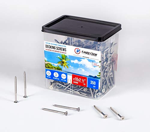 Eagle Claw Stainless Steel Deck Screws #10 X 2 1/2 Inch T25 Star Drive Torx Qty 350-4.2 Pounds