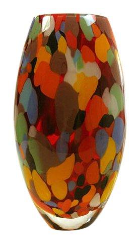 NOVICA Carnival Colors Handblown Art Glass Vase