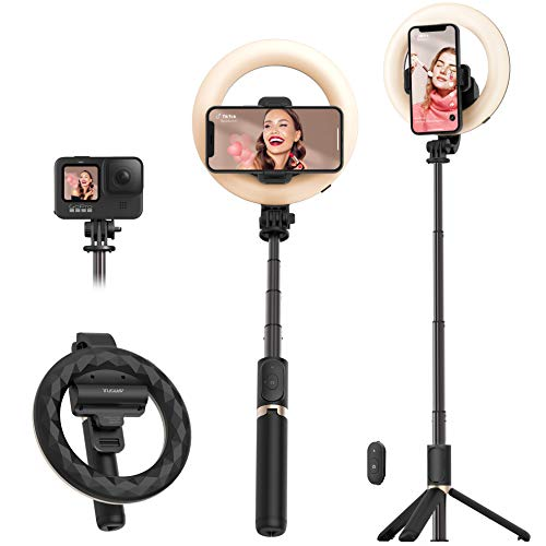 Selfie Ring Light with Tripod Stand and Phone Holder Artoful Rechargeable Ring Light with Bluetooth Remote and 3 Color Modes, 9 Adjustable Brightness for Live Stream, Makeup, YouTube and Vlogs