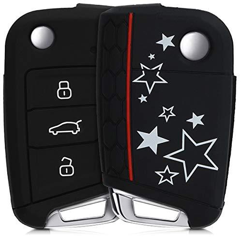 kwmobile Funda Compatible con VW Golf 7 MK7 Llave de Coche de 3 Botones - Carcasa Protectora Suave de Silicona - Varias Estrellas