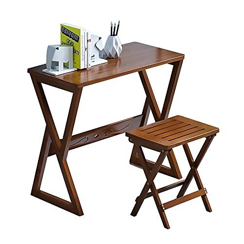 CNHK Juego De Escritorio De Bambú, Escritorio para Computadora De Escritorio, Mesa De Estudio con Taburete Plegable, Escritorio para Computadora De Oficina, Escritorio,Dark Brown,70cm