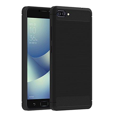 ivoler Hülle Kompatibel für Asus Zenfone 4 Max ZC520KL 5.2 Zoll, Carbon Faser Hülle Tasche Schutzhülle mit Stoßdämpfung Soft Flex TPU Silikon Handyhülle - Schwarz
