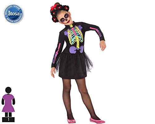 Atosa-55635 Atosa-55635-Disfraz Esqueleto para niña Infantil-Talla, Color negro 5 a 6 Años (55635