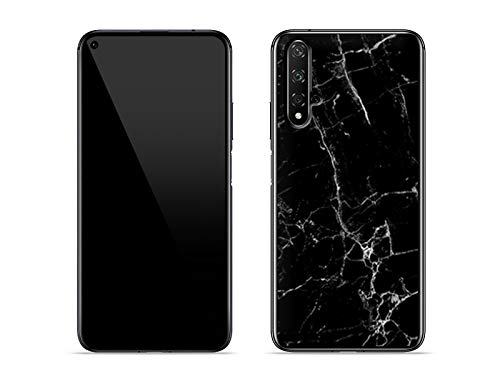etuo Hülle für Huawei Nova 5T - Hülle Fantastic Hülle - Schwarze Marmor Handyhülle Schutzhülle Etui Hülle Cover Tasche für Handy