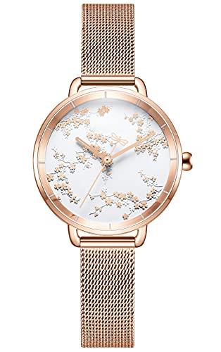 CIVO Reloj de pulsera analógico de cuarzo para mujer, resistente al agua, de acero inoxidable, diseño informal, diamante de cuarzo, para mujeres y niñas, 1 oro rosa.,