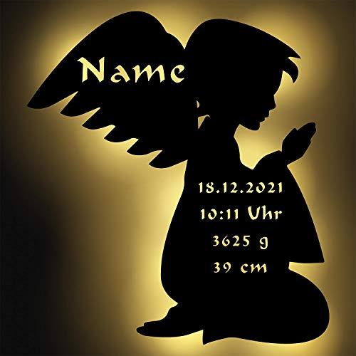 Schutzengel Baby Geschenk Mädchen Junge personalisiert mit Namen zur Geburt Taufe Engel Figur aus Holz beleuchtet
