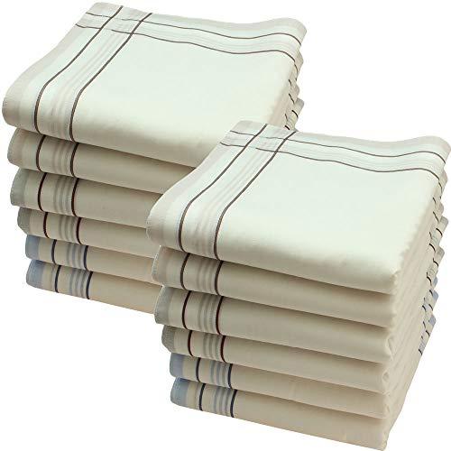 Ohne Marke Stofftaschentücher 12 Stück ca.40x40cm reine Baumwolle Herrentaschentücher (Wiliam)