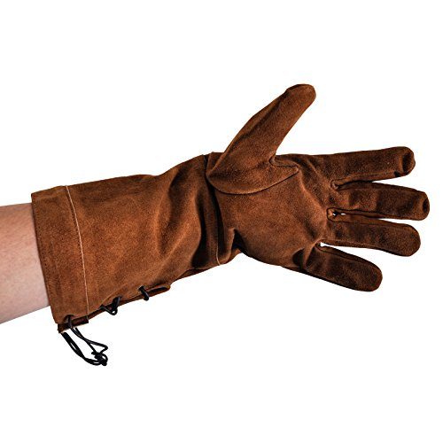 Elbenwald Handschuhe für Schaukampf und LARP Echtleder Handarbeit Langer Schaft braun - L
