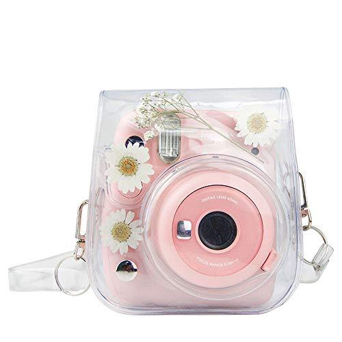 Funda de cámara compatible con Fujifilm Instax Mini 11 Mini 8 Mini 8+ Mini 9 Bolsa de instant cámara (transparente+flores secas)