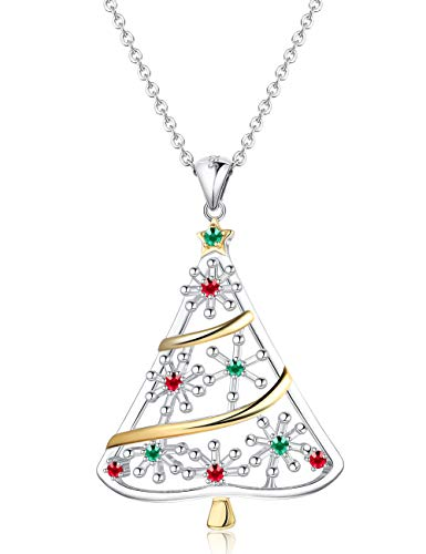 Sllaiss 925 Sterling Silver Christmas Tree Pendant Necklace Costume Jewelry Christmas Jewelry Gifts Long Pendant Necklace for Women