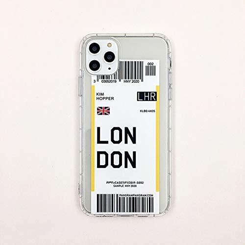Funda para teléfono FQSCX ins Funny Bar Label World Ticke Funda para teléfono para iPhone 6 Plus 7 8 8plus 11 Pro X XS XR MAXFunda Trasera deSilicona SuaveTPU paraiphoneXR London