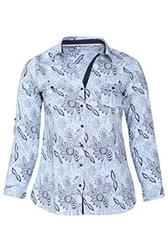 PAPRIKA Damen große Größen Gestreifte, mit Blumen Bedruckte Bluse Hemdkragen Lange Ärmel