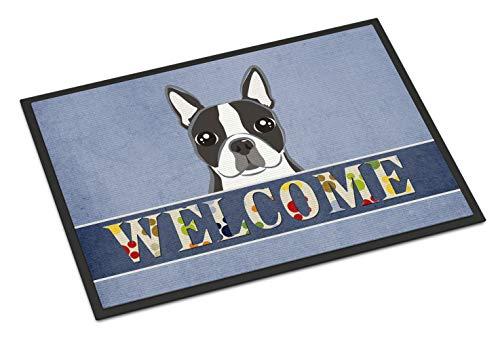 """Caroline Tesoros del BB1389JMAT Boston Terrier Welcome Alfombrilla para Uso en Interiores o al Aire Libre, 24x 36,""""Multicolor"""