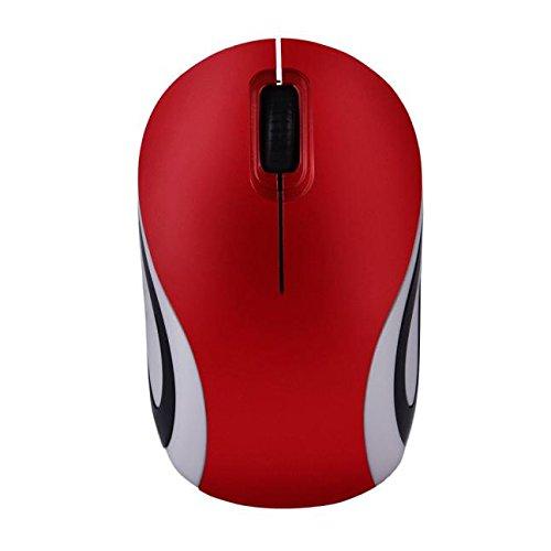 Wireless Mäuse für PC Laptop Notebook Maus Nette Mini 2.4GHz Aufladung Funkmaus Wireless Optical Mouse mit USB Empfänger (M,rot)