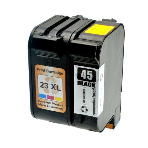 Juego de cartuchos de tinta para HP 45+ 2351645A C1823D–Negro 42ml + Colores 39ml (+ 30%)