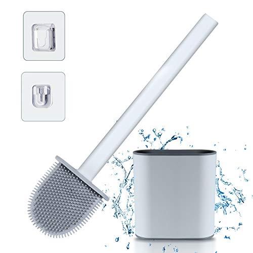 Scopino per WC con supporto (bianco) - Silicone con manico in plastica antiscivolo lungo e kit di supporto ad asciugatura rapida (montaggio a pavimento/a parete), bagno con setole in silicone pulite.