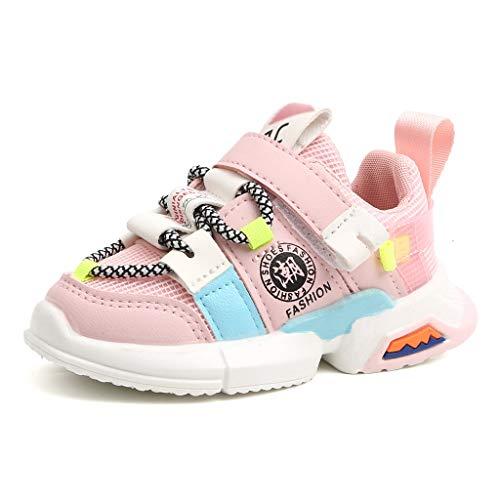 IMJONO Mode Enfants Chaussures de Sport Garçon Fille Chaussures Premiers Pas Correspondance des Couleurs Semelle Souple Respirant Baskets Pas Cher Confortable Chaussures (Rose,4.5-5 Ans)