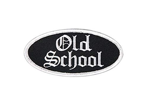 OLD SCHOOL OVAL, High Thread Embroidered Iron-On/Saw-On Rayon PATCH - 4