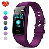 PUBU Fitness Tracker, IP67 Waterproof Fit Watch with Heart Rate Monitor,Sleep Monitor, Pedometer Watch for Women Men Kids (Deep Purple)