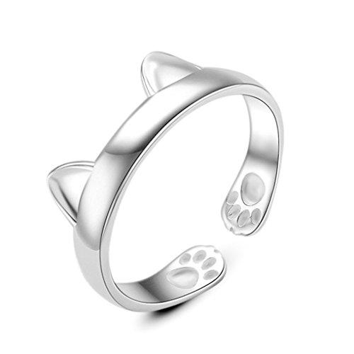 Wunhope Damen Ringe Katzenpfote Tierisch 925er Sterling Silber Ringöffnung Verstellbar