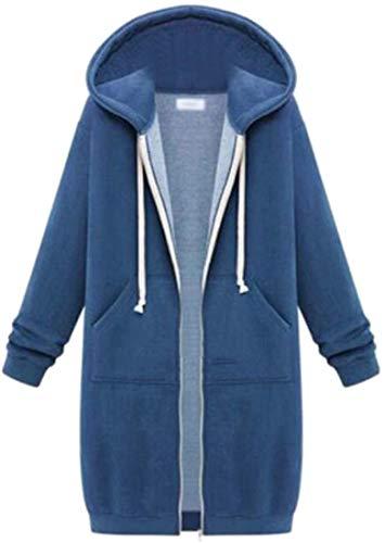 Women Long Sleeve Hoodies Sweatshirt Coat Zip up Hooded Jacket,Denim Blue,Medium