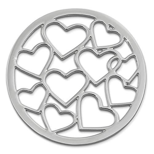 Amello Coin Edelstahl-Schmuck Coin silber Herzchen - Coin für Amello Coinsfassung für Damen - - 30 mm, Größe M Edelstahlschmuck Stainless Steel ESC504J